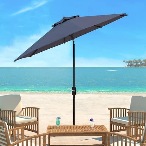 SAFAVIEH UV Resistant Ortega 9 ft. Auto Tilt Crank Taupe Umbrella, Base Not Included