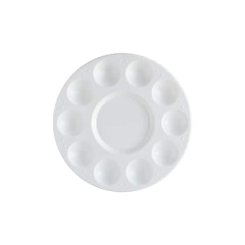 Pro Art Palette Tray Round Plastic 10 Well Bulk - White