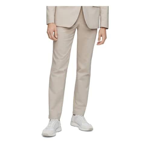 CALVIN KLEIN Mens Beige Stretch Solid Work Pants Size 38W/ 30L - 38W/ 30L