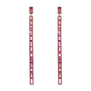 925 Sterling Silver Ruby Baguette Earring