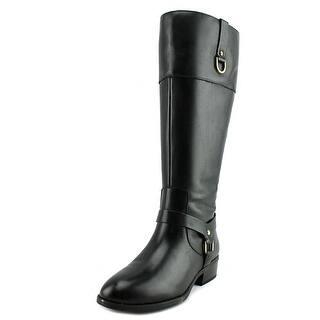 Lauren Ralph Lauren Mesa Wide Calf Women Round Toe Leather Black Mid Calf Boot|https://ak1.ostkcdn.com/images/products/is/images/direct/e6390e32e6d54ab44bd996627ef100c7acd2199c/Lauren-Ralph-Lauren-Mesa-Wide-Calf-Round-Toe-Leather-Mid-Calf-Boot.jpg?impolicy=medium
