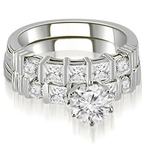 2.24CT Princess & Round Cut Diamond Engagement Bridal Set in 14KT Gold - White H-I