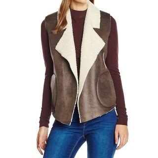 French Connection NEW Brown Women's Size Large L Winter Faux-Fur Vest
