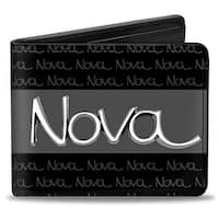 1968 72 Nova Script Emblem Stripe Repeat Black Gray Silver Bi Fold Wallet - One Size Fits most