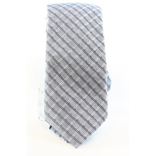 Calvin Klein NEW Vintage Denim Blue Men's Slim Grid Print Neck Tie