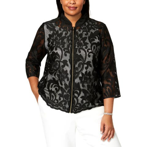 Kasper Womens Plus Jacket Floral Lace