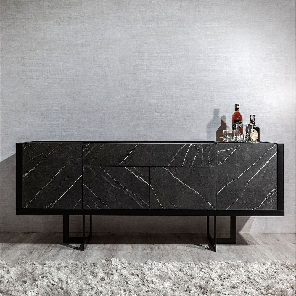 Celine 70.86 Buffet Stand with Push to Open Doors and Steel Legs