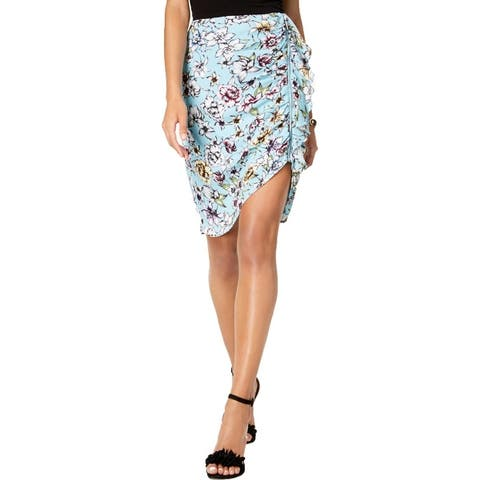 Guess Womens Dotty Straight Skirt Ruffled Floral print - Blue Wave/Riot Bloom Print
