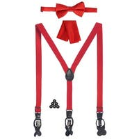 Gioberti Boys Red Convertible Suspenders Bow Tie Buttons and Hanky Set