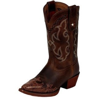 Tony Lama Western Boots Girls Kids Vaquero Stitched Pointed Tan LL301