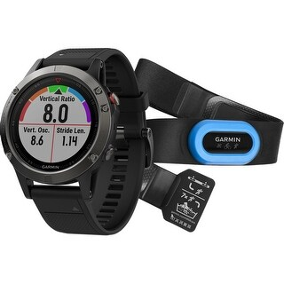 Garmin fenix 5 Multi-Sport Training GPS Watch Performer Bundle (Slate Gray, Black Band)