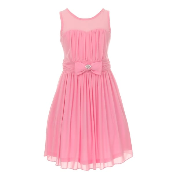 a80423365cf Shop Cinderella Couture Girls Pink Chiffon Broach Pleated Flower Girl Dress  8-14 - Free Shipping On Orders Over  45 - Overstock - 18174336