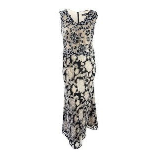 Betsy & Adam Women's Plus Size Floral Lace A-Line Gown - Black/nude (3 options available)