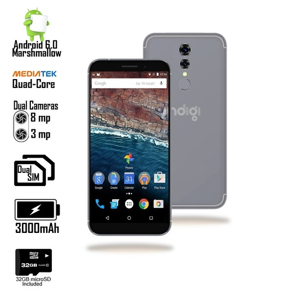 Indigi 4G LTE Unlocked 5.6-inch Android 6.0 SmartPhone w/ QuadCore @ 1.2GHz + Fingerprint Scan) (Black) + 32gb microSD