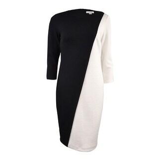 Calvin Klein Women's Diagonal Colorblocked Textured Dress (6P, Black Combo) - black combo - 6P