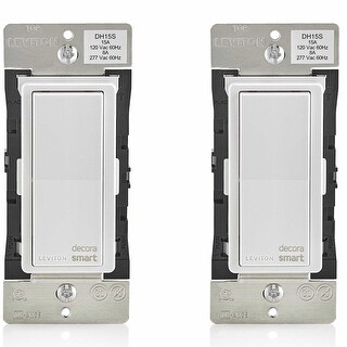Leviton DH15S-1BZ 15A Decora Smart Switch, Works with Apple HomeKit (2 Pack) - White