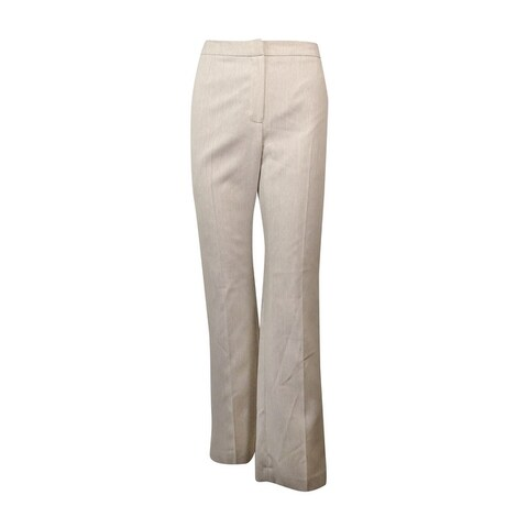 Kasper Women's Straight Leg Pinstripe Dress Pants - straw/white