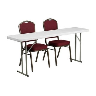 "Offex 18"" x 72"" Plastic Folding Training Table with 2 Crown Back Stack Chairs [OF-RB-1872-1-GG]"