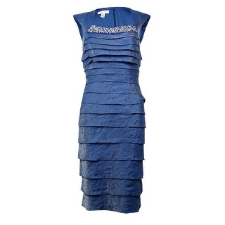 London Times Women's Tiered Cap Sleeves Dress