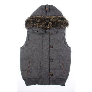 Mossimo Dutti Womens Wool Faux Suede Trim Outerwear Vest - M