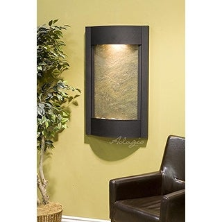 Adagio Serene Waters Wall Fountain - Greem Featherstone, Textured Black Frame
