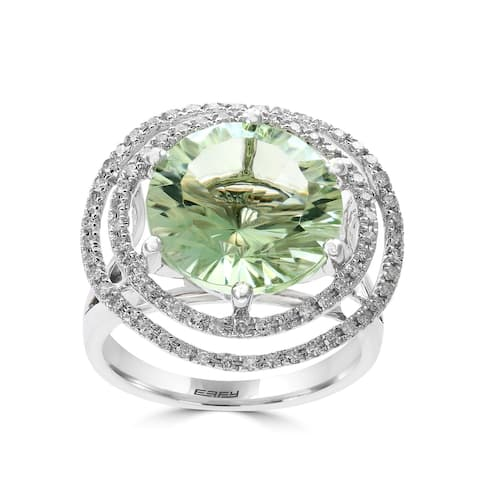 Effy Jewelry Green Amethyst Cocktail Ring with Diamonds in 14K White Gold, 8.78 TWC Size- 7