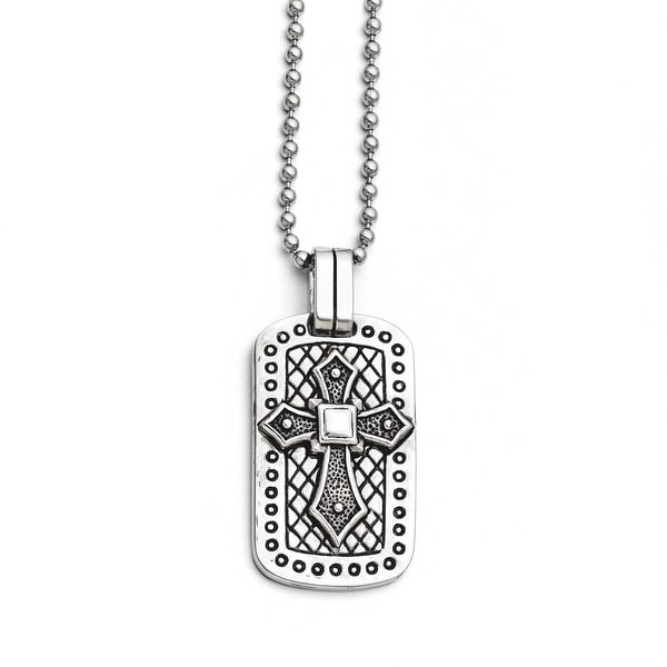Chisel Stainless Steel Antiqued Cross Dogtag Necklace (3 mm) - 22 in