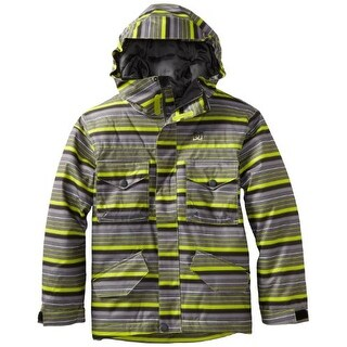 DC Boy's Servo Snowboard Jacket - Green Stripe - X-SMALL