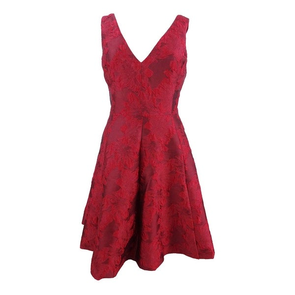 80583de87ad Shop Betsey Johnson Women s V-Neck Jacquard Fit   Flare Dress - Red - Free  Shipping Today - Overstock - 24253768
