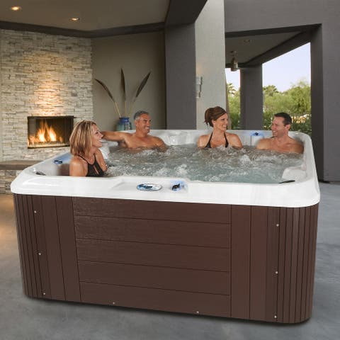 Essential Hot Tubs Sequoia 90-Jet Lounger Spa in Espresso - 91x91x40