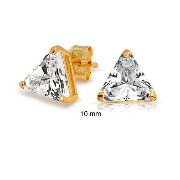abdf2a142 5 CTW Triangle Shaped Cubic Zirconia Basket Set Trillion Cut CZ Stud  Earrings 14K Gold Plated