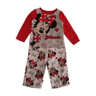 Disney Little Girls Red White Minnie Mouse Long Sleeve 2 Pc Pajama Set
