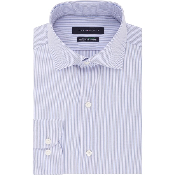 Tommy Hilfiger Mens Big & Tall Button-Down Shirt Striped Big Fit - Multi Blue. Opens flyout.