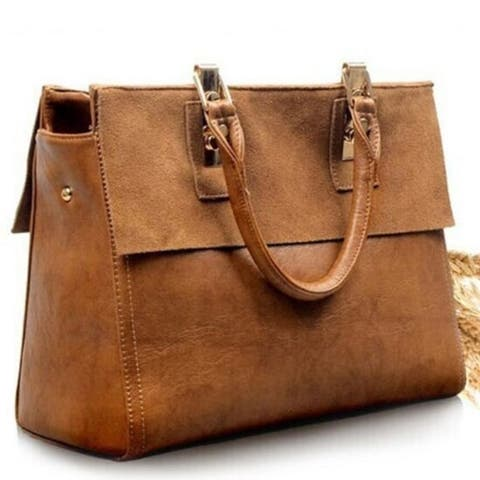 Retro Real Leather Brown Satchel Messenger Tote Bags Handbag