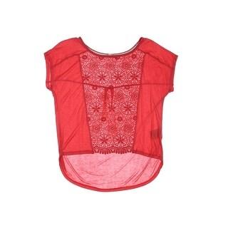 Rewind Womens Juniors Pullover Top Jersey Crochet Front