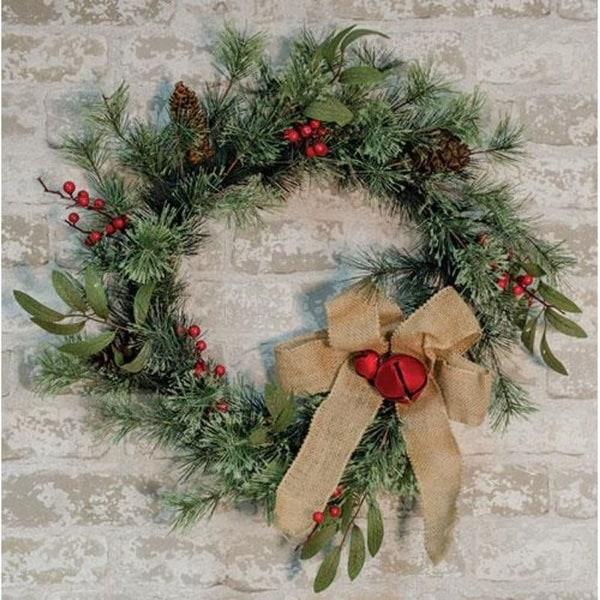 Brush Pine w/Red Bells Wreath
