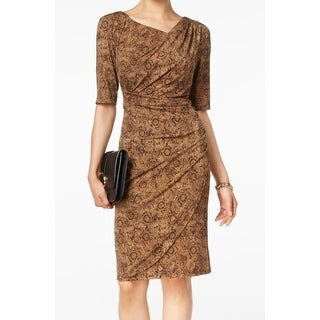 Connected Apparel NEW Brown Womens 10 Faux-Wrap Printed Sheath Dress