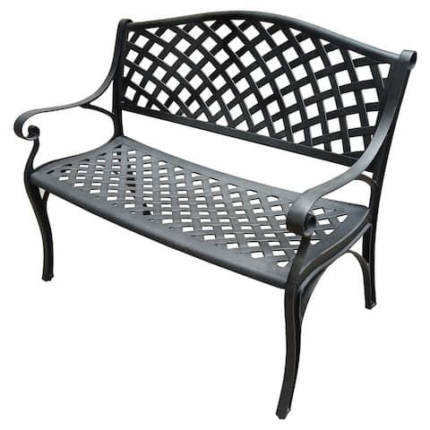 Outdoor Aluminum Modern Black Bronze Grey White Patio Bench Loveseat