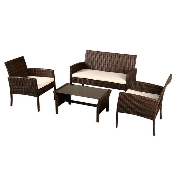 costway 4 pieces patio furniture wicker rattan sofa set garden coffee table