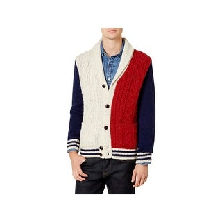 Tommy Hilfiger Mens Stevenson Cardigan Sweater Wool Cable Knit - S