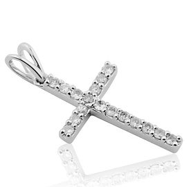 Gold and Diamond Cross Pendant 1/4cttw 10k White Gold(i2/i3 I/j)