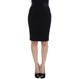 Karl Lagerfeld Karl Lagerfeld Black Wool Straight Pencil Skirt - it40-s