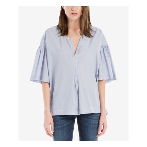 MAX STUDIO Womens Blue Pinstripe Short Sleeve V Neck Top Size M