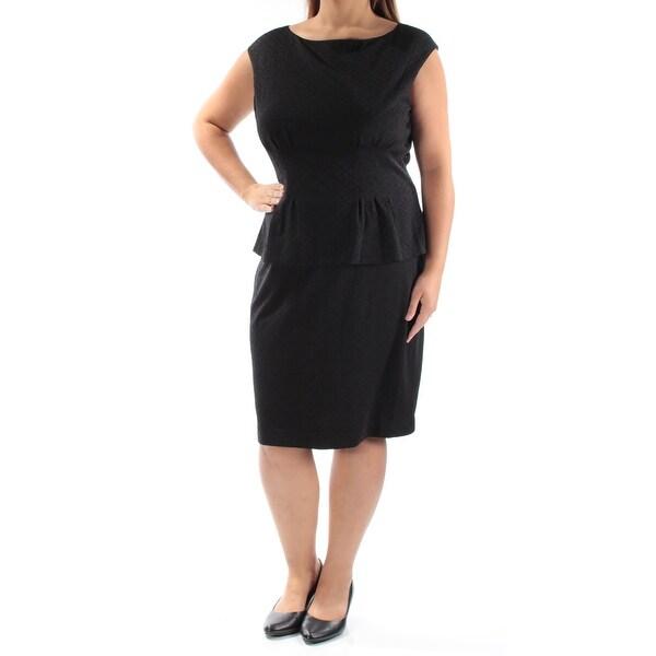 Shop Womens Black Cap Sleeve Knee Length Peplum Cocktail Dress Size