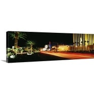 Premium Thick-Wrap Canvas entitled Las Vegas Blvd The Strip Neon various hotels Looking North