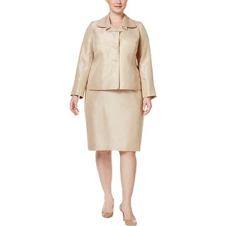 Le Suit Womens Plus Verona Skirt Suit Metallic Polyester