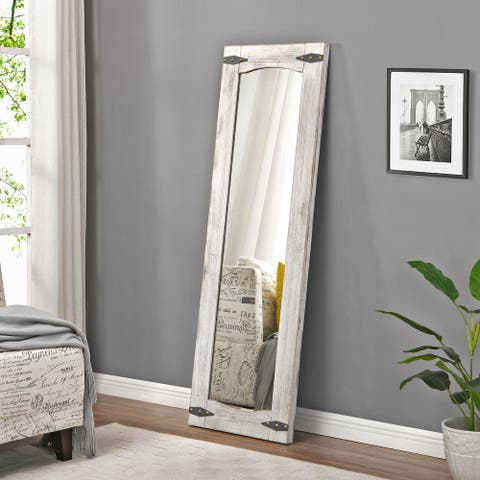 FirsTime & Co. Ivory Meredith Barn Door Full Length Standing Mirror, Wood - 20 x 1.5 x 60 in