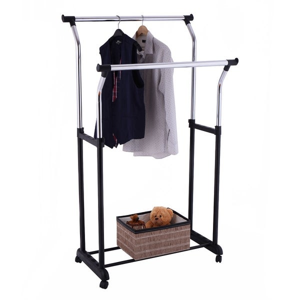 Bon Costway Double Rail Adjustable Rolling Garment Rack Clothes Hanger Laundry  Drying Rack   As Pic