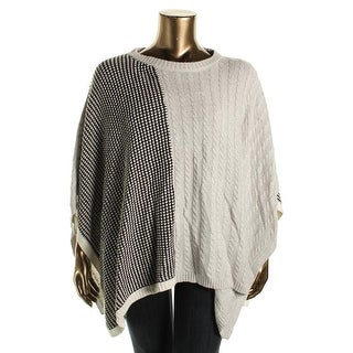 Two by Vince Camuto Womens Cable Knit Colorblock Poncho Sweater - L/XL