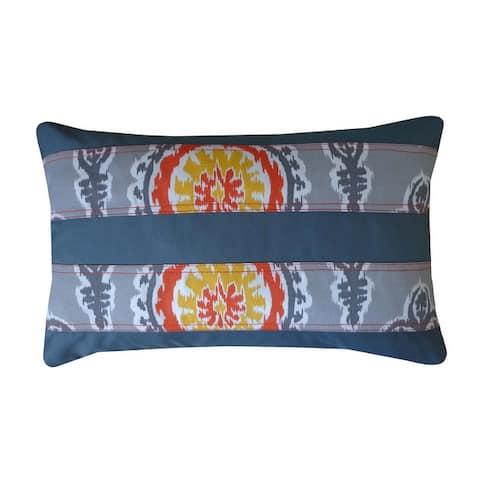 Jiti Orange Embroidered Southwestern Sunbrella Outdoor Pillows - 12 x 20